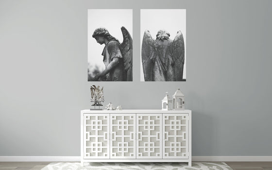Angel photography, turning angel, black and white photography, angel statue, natchez mississippi, angelic wall art, angel prints, discounted
