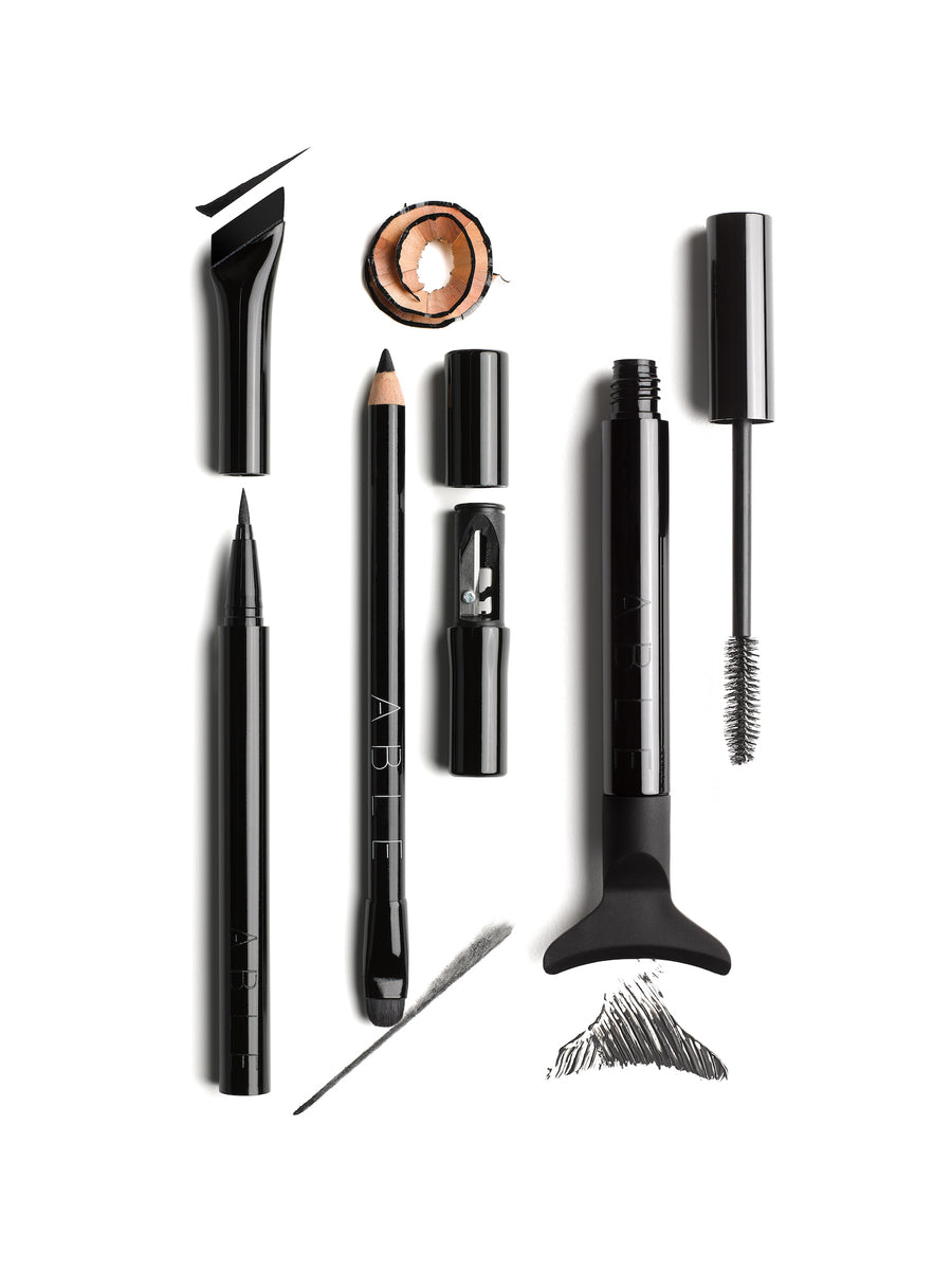 ABLE Cosmetics Trio Set Cat Eye 101 Primary Pencil Eyeliner Mascara Open Product Shot