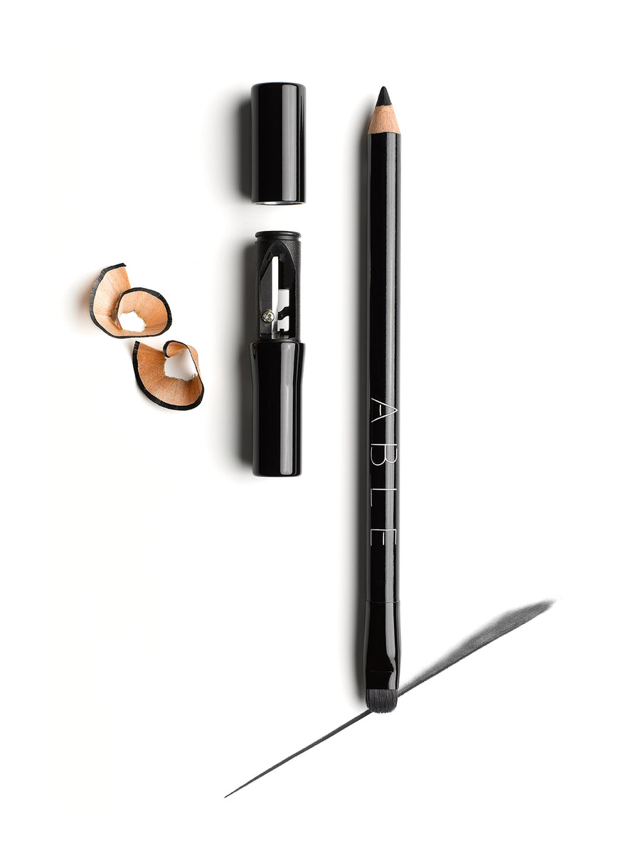 primary pencil, black eyeliner with built-in sharpener and brush
