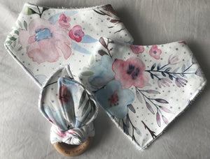 """Bunnies and Robins"" Organic Cotton Bandana Bib"