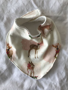 """Watercolour Christmas Deer"" Organic Cotton Slouch Bib"