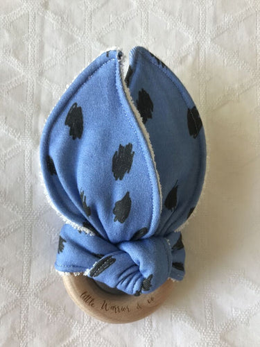 LEOPARD BLUE Organic Cotton Fabric Teether