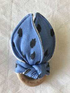 """Leopard Blue"" Organic Cotton Fabric Teether"