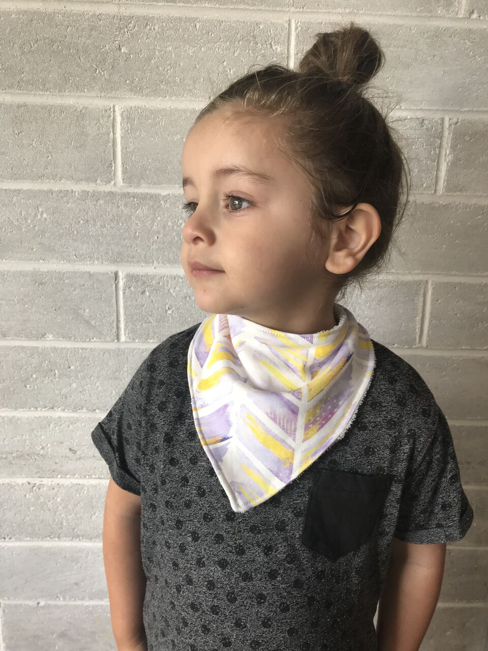 'Watercolour Feathers' Organic Cotton Bandana Bib