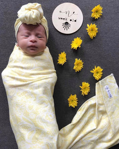 PREORDER 'Pretty In Lemon' Organic Cotton Swaddle Blanket