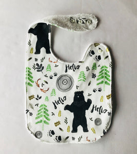 """Hello There Little Bear"" Organic Cotton Feeding Bib"