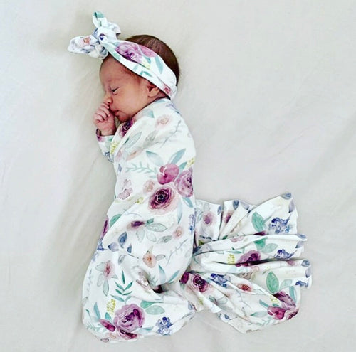 'Lily Rose' Organic Cotton Swaddle Blanket