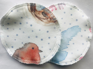 'Bunnies and Robins' Organic Cotton Reusable Nursing Pad Set
