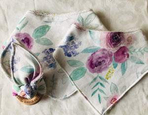 'Lily Rose' Organic Cotton Bandana Bib