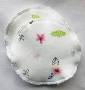 FLORALS ON WHITE Organic Cotton Reusable Nursing Pad Set