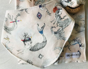 """Mermaids and Dragons"" Organic Cotton Slouch Bib"