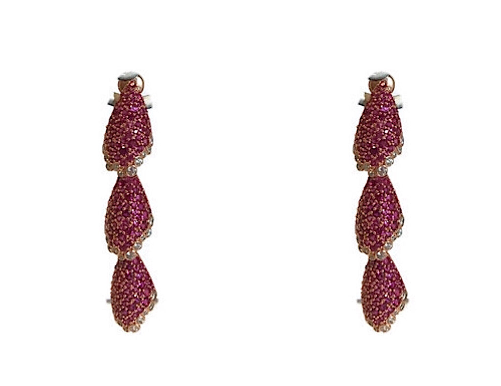 Elegant  Ruby CZ Earrings Set In Rose Gold Vermeil