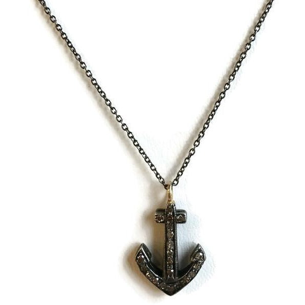 Diamond Anchor Necklace - Domaine Designs
