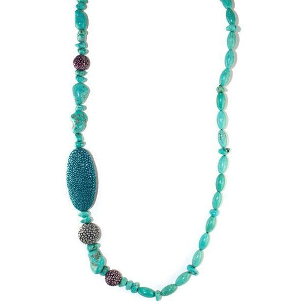 Turquoise Bead & Shagreen Necklace