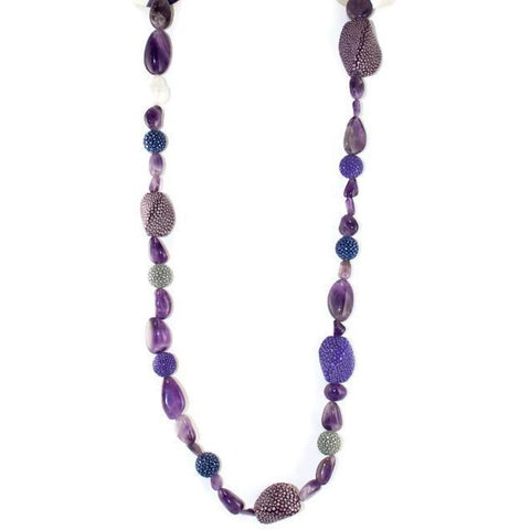 Amethyst Bead & Shagreen Necklace