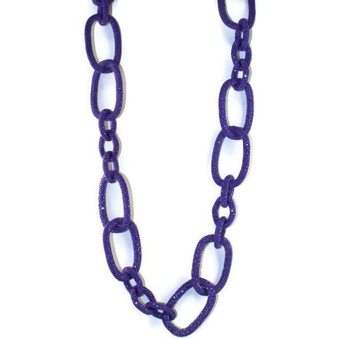 Purple Shagreen Link Necklace