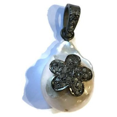 Pearl & Diamond Flower Pendant