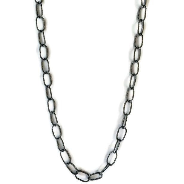 "Oxidized Sterling 44"" Chain Necklace"
