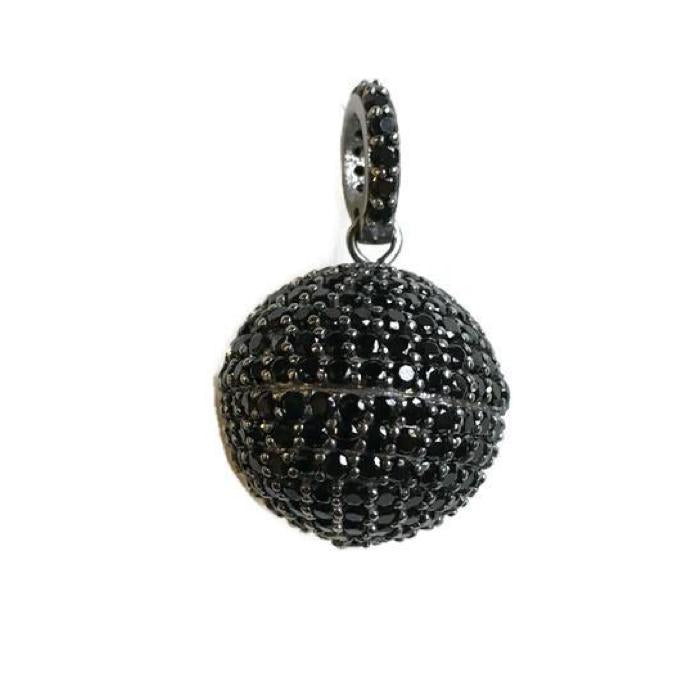 Large Black Spinel Orb Pendant - Domaine Designs