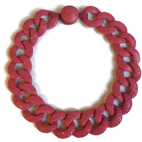 Hot Pink Shagreen Link Collar