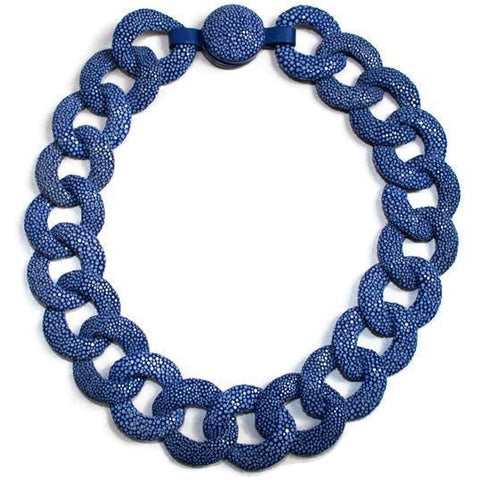 Royal Blue Shagreen Link Collar