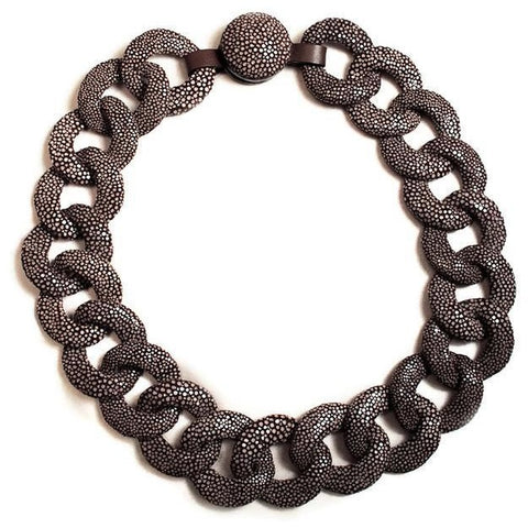Chocolate Shagreen Link Necklace
