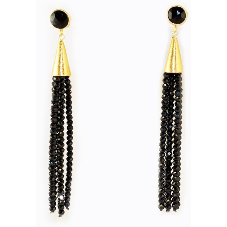 Onyx Tassel Earrings