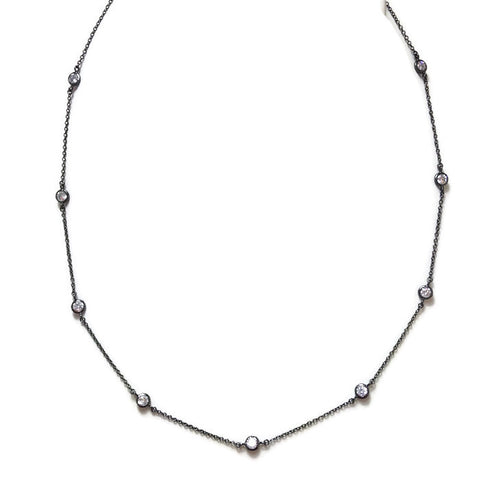 Oxidized Sterling CZ Station Necklace
