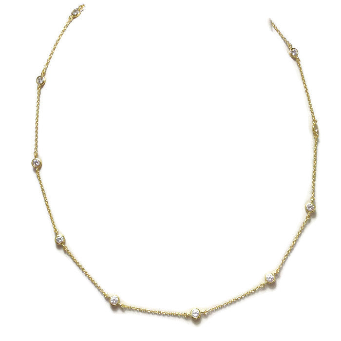 Gold CZ Station Necklace