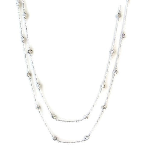 Silver CZ Station Necklace - Domaine Designs