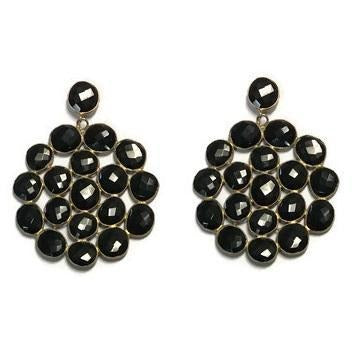 Black Onyx Medallion Earrings