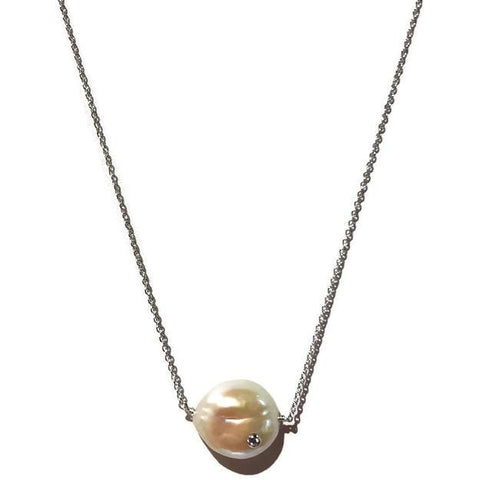 Baroque Pearl Pendant Necklace with CZ - Domaine Designs