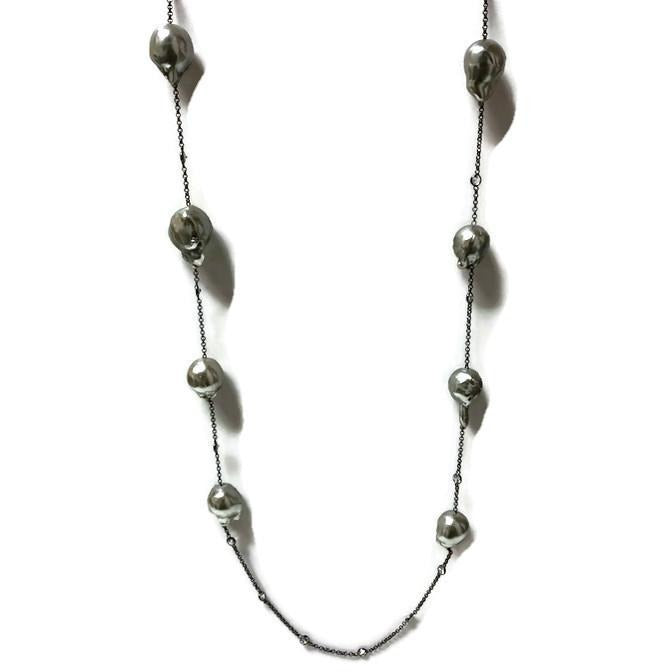 Grey Baroque Pearl and CZ Station Necklace - Domaine Designs