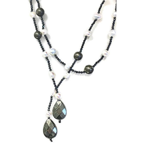 Pearl and Hematite Lariat Necklace - Domaine Designs