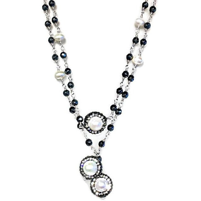 Pearl and Hematite Link Chain Lariat - Domaine Designs