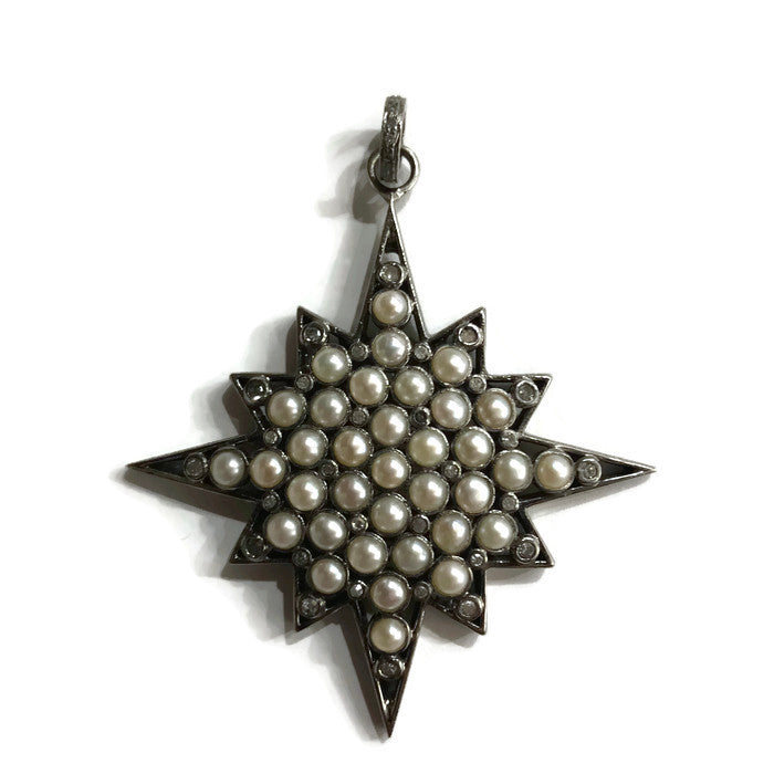 Maltese Star Pearl & Diamond Pendant - Domaine Designs