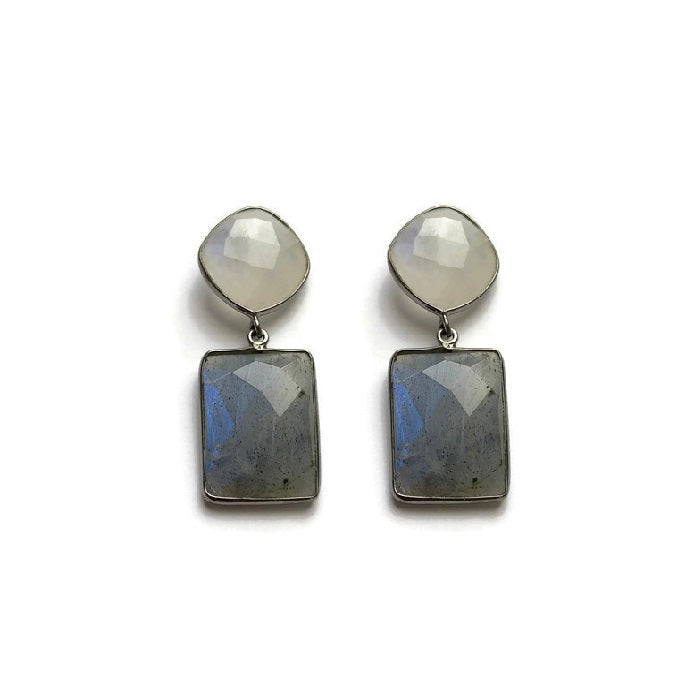 Moonstone and Labradorite Earrings Set in Oxidized Sterling Silver