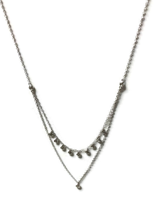 Double Strand Bezel Set CZ Necklace - Domaine Designs