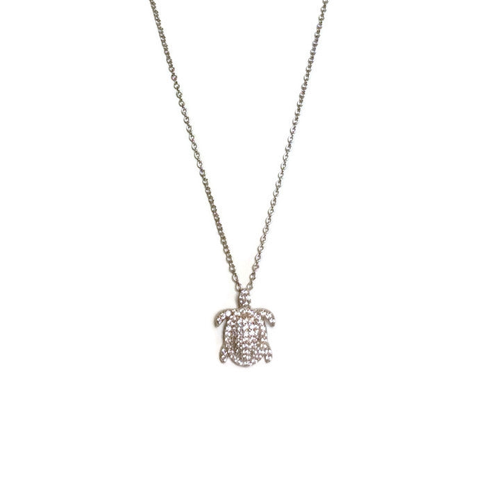 Micro Pave CZ Turtle Necklace