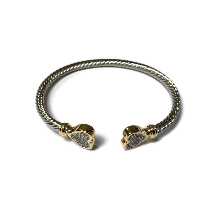 Two-tone Heart Cuff Bracelet - Domaine Designs