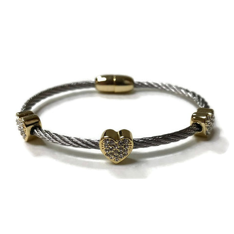 Two-tone Crystal Hearts Bangle Bracelet - Domaine Designs