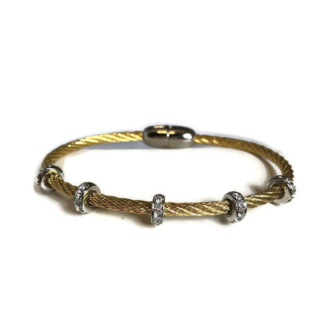 Twisted Bangle Bracelet With 5 Bars & Magnetic Clasp