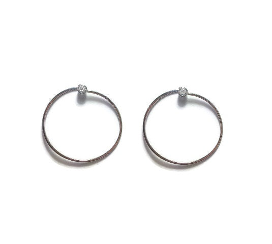 Modern Hoop Earrings with CZ's