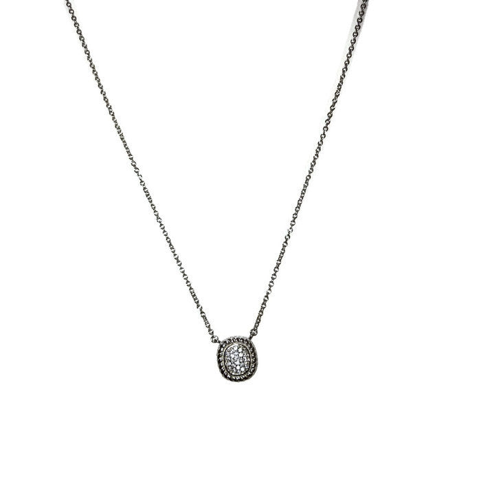 Delicate Cushion Shape Pave Necklace
