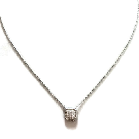 Delicate Cushion Checkerboard Pave Necklace