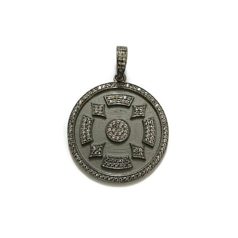 Sterling Silver Deco Disc Pendant