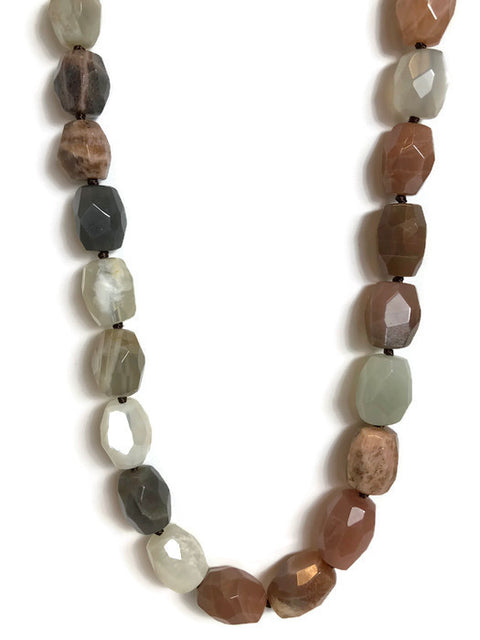 Moonstone Faceted Barrel Bead Necklace