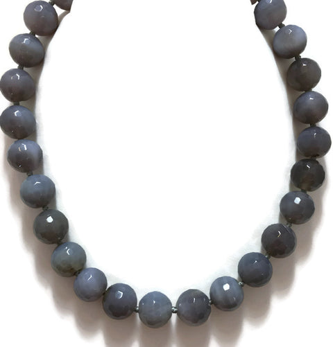 Faceted Grey Agate Beaded Necklace