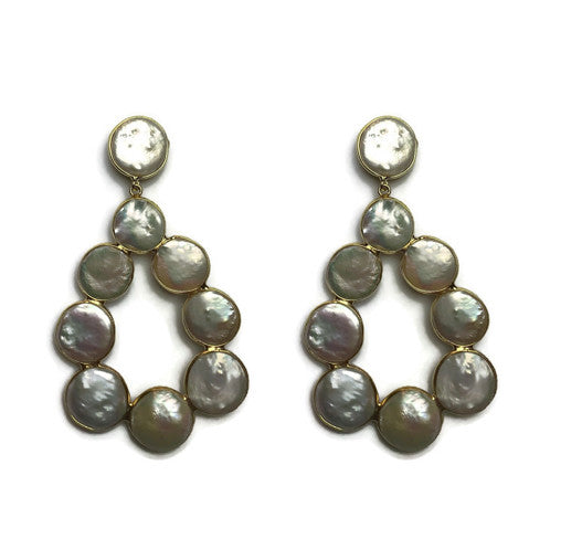 Coin Pearl Loop Earrings