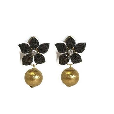 Chocolate Flower Earring With Gold Ball Drop